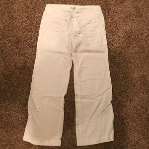 GAP wide leg white linen pants